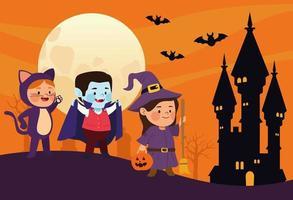 mignons petits enfants déguisés en chat et sorcière avec vampire dans une scène de château vecteur