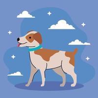 chien mignon avec des taches de couleur brune vecteur