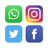 icônes de médias sociaux de facebook whatsapp instagram logos facebook vecteur