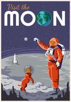 Appréciant l'affiche de voyage de lune vecteur