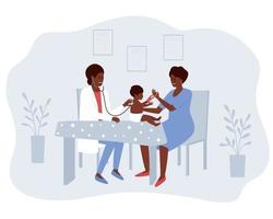 maman et bébé afro-américains visitent le médecin vecteur