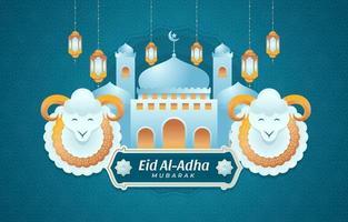 fond eid al adha avec mosquée et moutons vecteur
