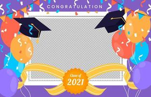 fond de cadre photo de remise des diplômes plat vecteur