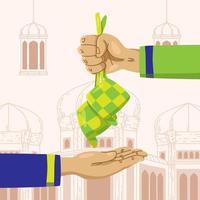 concept de ketupat donnant la main vecteur