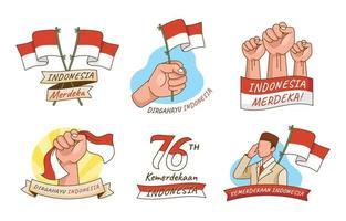 autocollants de dessin animé de la fête de l'indépendance de l'indonésie vecteur