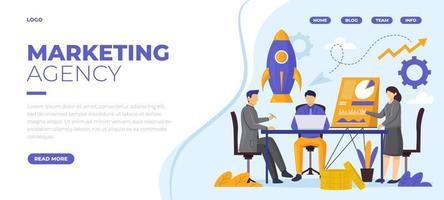 page de destination pour l'agence de marketing vecteur
