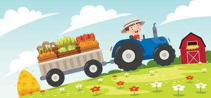 drôle de petit fermier vecteur