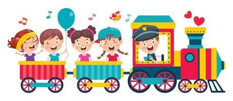 enfants drôles montant dans le train vecteur