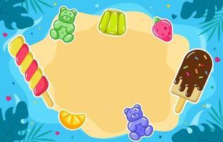 concept d'été de bonbons sucrés et de crème glacée vecteur