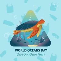 concept de service d'annonces publiques de la journée mondiale des océans vecteur