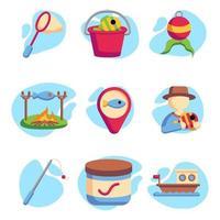 collections d'icônes de pêche vecteur