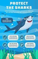 infographie de protéger les requins vecteur