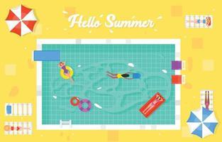 concept d'été de piscine vecteur