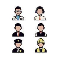 ensemble d'icônes de personnes dans la profession d'affaires vecteur