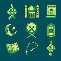 ensemble d'icônes colorées de ketupat vecteur