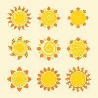 ensemble de soleil icône moderne vecteur