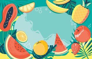 fond tropical de fruits et de nourriture vecteur