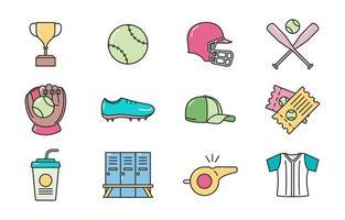 icône de softball coloré vecteur
