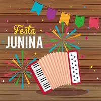 affiche festa junina avec accordéon et guirlande suspendue vecteur