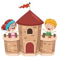 château de conte de fées et enfants heureux vecteur