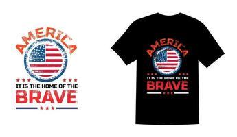 l'amérique est le pays des braves usa memorial day t shirt design vector illustration