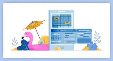 illustration vectorielle du calendrier d'achat de billets d'avion aller-retour pour les vacances vecteur