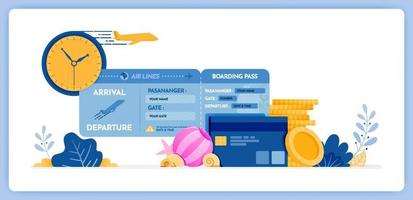 illustration vectorielle du calendrier d'achat de billets d'avion pour des vacances avec carte de crédit vecteur