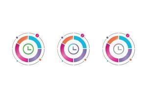 icône de temps dans le diagramme circulaire vecteur