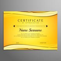 Design de fond lumineux ondulé certificat abstrait