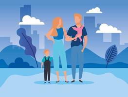 parents avec fils dans le parc vecteur