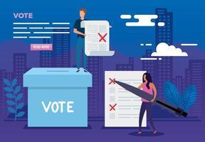 affiche de vote avec des personnes et des icônes vecteur