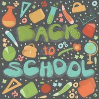 affiche de retour à l'école avec des articles scolaires vecteur