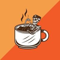 squelette trempant dans une tasse de café tout en fumant une illustration vectorielle de cigarette vecteur