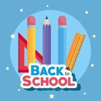 bannière de retour à l'école avec des crayons et des règles vecteur