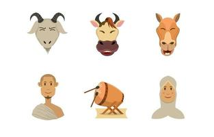 ensemble d & # 39; icônes eid al adha vecteur