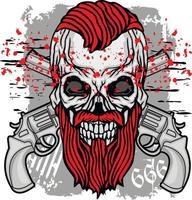 signe gothique avec crâne et barbe grunge design vintage t-shirts vecteur