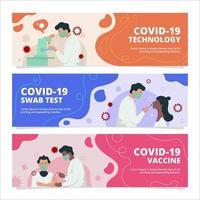 ensemble de bannières de vaccin covid-19 vecteur