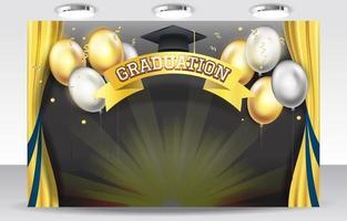fond de remise des diplômes avec ballon d'argent et d'or vecteur