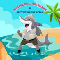 requin portant l'uniforme d'agent de la faune vecteur
