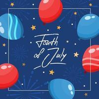 concept de feu d'artifice et de ballons du quatrième juillet vecteur