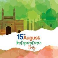 monuments célèbres de l'inde, 15 août pour la fête de l'indépendance heureuse en arrière-plan vecteur