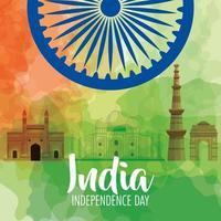 célébration de la fête de l'indépendance indienne avec roue ashoka et monuments célèbres vecteur