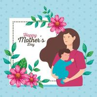 carte de fête des mères heureuse avec une femme enceinte portant un bébé garçon vecteur
