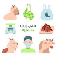 jeu d'icônes eid al adha vecteur