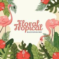 duo de flamants roses avec de la verdure tout autour du fond tropical vecteur