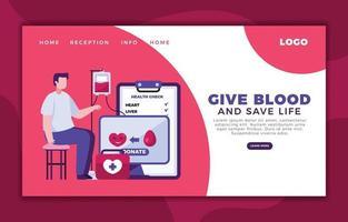 planifier le don de sang via la page Web vecteur