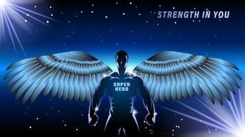 homme de super héros avec un style de dessin animé silhouette ailes vecteur