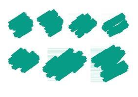 ensemble de coups de pinceau grunge forme turquoise abstraite peint à la main vecteur