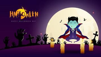 joyeux jour d'halloween avec la conception des personnages de vampire dracula et la pleine lune sur le vecteur de fond de nuit