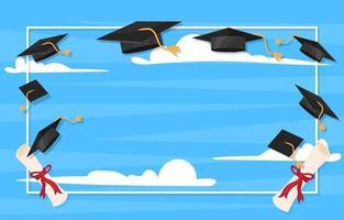 cadre de graduation avec capuchon de graduation vecteur